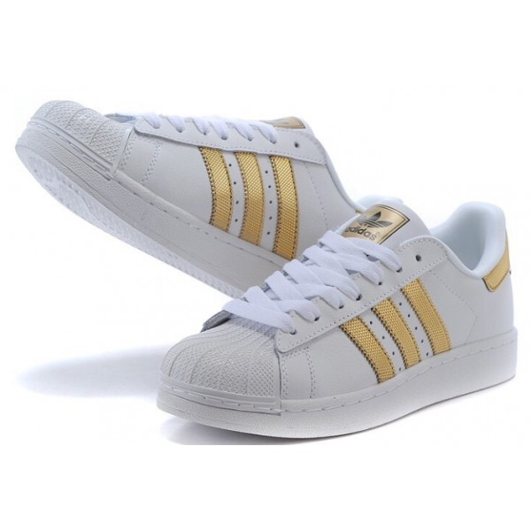 adidas superstar blanche et or